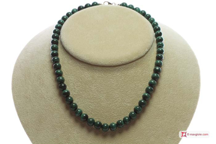 MAXGIOIE - Collana Malachite Extra pallini 8mm in Oro 18K
