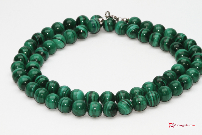 MAXGIOIE - Collana Malachite Extra pallini 6mm in Oro 18K