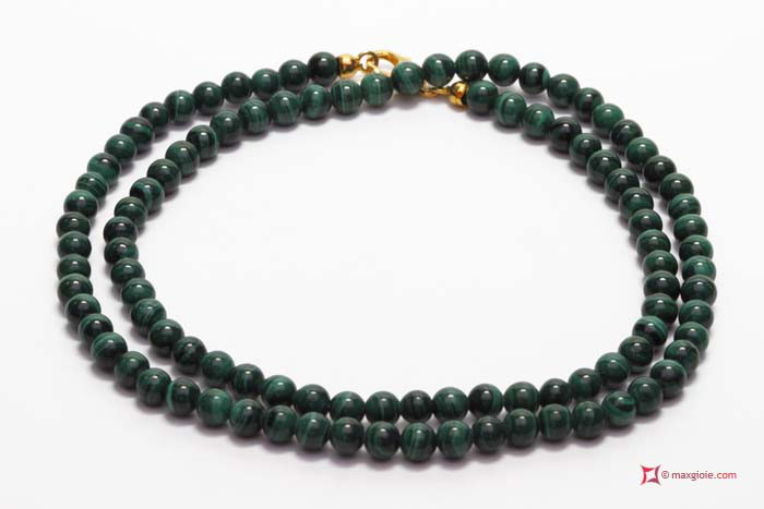 MAXGIOIE - Collana Malachite Extra pallini 4mm in Oro 18K