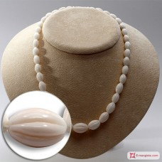 Extra Pinkish White Coral Necklace olive striped 12-5mm graduated in Gold 18K