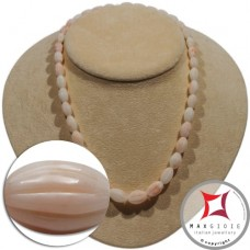 Extra Pinkish White Coral Necklace olive striped 9-15mm graduated in Gold 18K