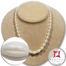 Extra White Coral Necklace olive striped 7-13mm graduated in Gold 18K