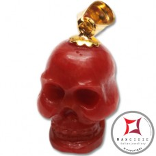 Red Coral Pendant Carved Art skull in Gold 18K