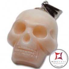 Pink Coral Pendant Carved Art skull in Gold 18K