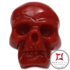 Red Coral Pendant Carved Art skull in Gold 18K id0013