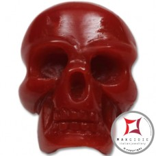 Red Coral Pendant Carved Art skull in Gold 18K id0014