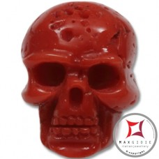Red Coral Pendant Carved Art skull in Gold 18K id0015