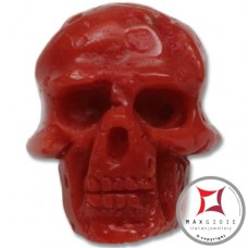 Red Coral Pendant Carved Art skull in Gold 18K id0016