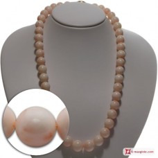 Extra Pink Coral Necklace 12-15½mm round in Gold 18K