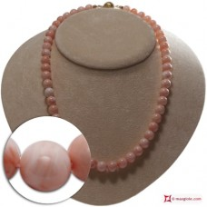 Extra Pink Coral Necklace 8½-9½mm round in Gold 18K