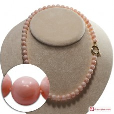 Extra Pink Coral Necklace 8-8½mm round in Gold 18K