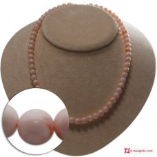 Extra Pink Coral Necklace 7-7½mm round in Gold 18K