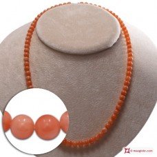 Extra Pink Coral Necklace Dark Color 5½-6mm round in Gold 18K