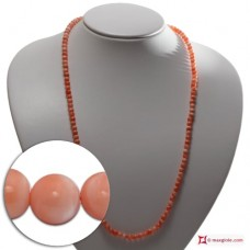 Extra Pink Coral Necklace Dark Color 5mm round in Gold 18K