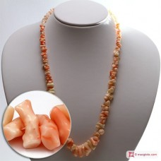 Pink Coral Necklace chips ±44g in Silver