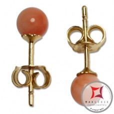 Extra Pink Coral Earrings 4½-5mm in Gold 18K