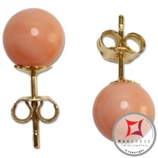 Extra Pink Coral Earrings 7-7¾mm in Gold 18K [various diameters]