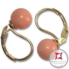 Extra Pink Coral Earrings 7-7¾mm in Gold 18K mmp [various diameters]