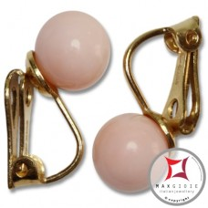 Extra Pink Coral Earrings 7-7¾mm skin tone in Gold 18K clip [various diameters]