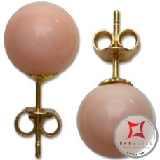 Extra Pink Coral Earrings 8-8¾mm skin tone in Gold 18K [various diameters]
