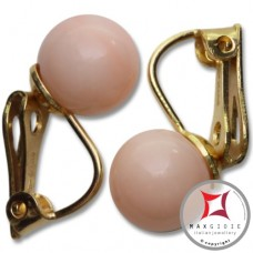 Extra Pink Coral Earrings 8-8¾mm skin tone in Gold 18K clip [various diameters]