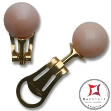 Extra Pink Coral Earrings 9-9¾mm skin tone in Gold 18K clip [various diameters]