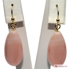 Extra Pink Coral Earrings drops 12x27mm in Gold 18K