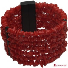 Mediterranean Red Coral Bracelet chips 7 strands