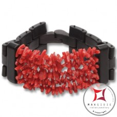 Red Coral and Ebony Bracelet chips 5 strands id1009