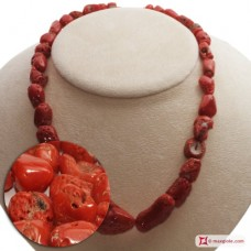 Mediterranean Red Coral Necklace graduated stones 10-25mm in Gold 18K