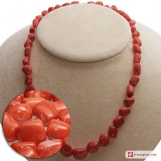 Japan Red Coral Necklace graduated stones 10-15mm in Gold 18K