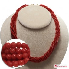 Extra Red Coral Necklace Dark Color round 3mm 10 strands in Gold 18K