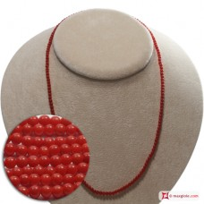 Extra Red Coral Necklace Dark Color round 3mm in Gold 18K