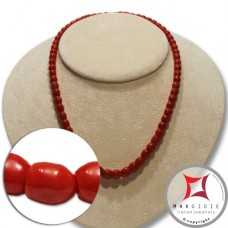 Mediterranean Red Coral Necklace snake barrel 6-8mm graduated in Gold 18K
