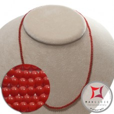 Extra Red Coral Necklace round 4mm in Gold 18K