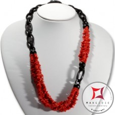 Red Coral and Ebony Necklace chips 3 strands id2307