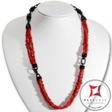Red Coral and Ebony Necklace chips 3 strands id2308