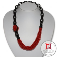 Red Coral and Ebony Necklace chips 6 strands id2309