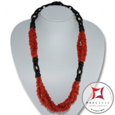 Red Coral and Ebony Necklace chips 3 strands id2310