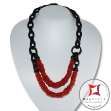 Red Coral and Ebony Necklace chips 5 strands id2311