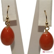 Japan Red Coral Extra Earrings poire 12x16mm in Gold 18K