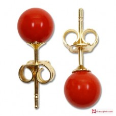 Extra Red Coral Earrings 4½mm in Gold 18K