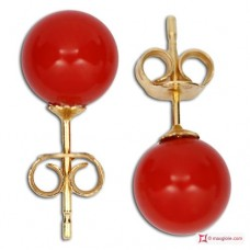 Extra Red Coral Earrings 6-6½mm in Gold 18K