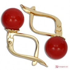 Extra Red Coral Earrings 7-7¾mm in Gold 18K m [various diameters]