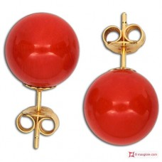 Extra Red Coral Earrings 9-9¾mm in Gold 18K [various diameters]