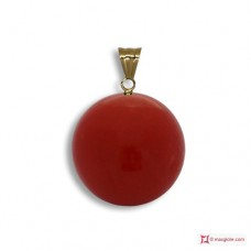 Extra Red Coral Pendant 7-7¾mm in Gold 18K [various diameters]