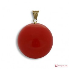Extra Red Coral Pendant 8-8¾mm in Gold 18K [various diameters]