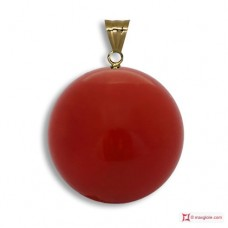Extra Red Coral Pendant 9-9¾mm in Gold 18K [various diameters]
