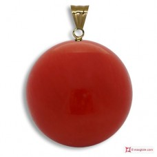 Extra Red Coral Pendant 10-10¾mm in Gold 18K [various diameters]