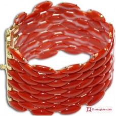 Extra Red Coral Bracelet Cerasuolo shuttle 6 rows in Yellow Gold 18K